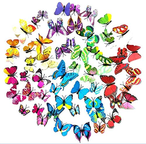3D Butterfly Wall Sticker Combination DIY Butterfly for Decoration Girls Bedroom Home - 72PCS (12 Muticolor + 12 Green + 12 Pink + 12 Yellow + 12 Purple + 12 Blue)