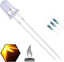 EDGELEC 100pcs 5mm Yellow Flicker Flickering LED Diodes Candle Flicking Lights Clear Round Top 29mm Long Feet DC 2V Light ...