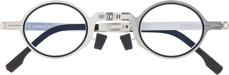 DIDINSKY Gafas de Lectura Plegables Graduadas para Hombre y Mujer. Gafas de Presbicia con Montura Metálica y Lentes con Protección Luz Azul. 5 Graduaciones - MET ROUND