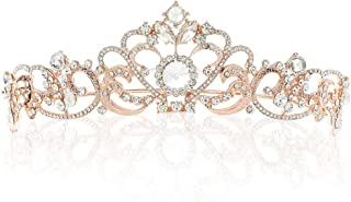 Barogirl Rose Gold Wedding Crowns and Tiaras Princess Crown Vintage Tiara Rhinestones Bridal Headpiece for Women (Rose Gold)