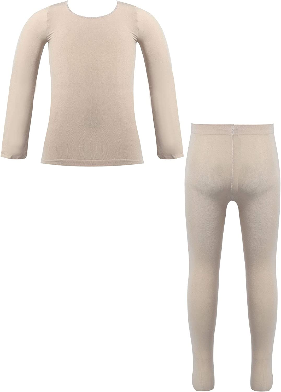 Mufeng Child Girl Thermal Underwear Set Soft Velet Stretchy Bottoming Suit Base Layer Top Pantyhose Pants Set Dancewear