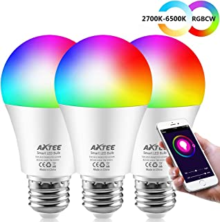 AXTEE Smart Light Bulb, RGBCW Dimmable Color Changing LED WiFi Bulbs E26 7W(60W Equivalent)with Remote Control, No Hub Required, Compatible with Alexa, Echo,Google Home and IFTTT for Home/Party 3 Pack