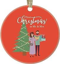 Newlywed Couple Ornament 1st Christmas As Mr & Mrs Gift Ideas Playful Bridal Shower Wedding Party Keepsake Husband Wife Celebrating Marriage Presents 3