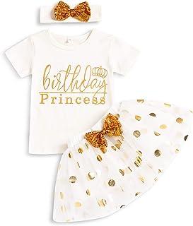 Toddler Baby Girls Birthday Skirt Set Birthday Princess Tops + Tutu Skirt with Headband Cake Smash Outfits