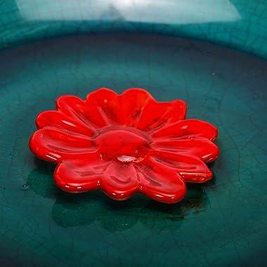Topadorn Birdbath Ceramic Bowl Decor for Bee Bird Bath Outdoor Garden Vintage Yard,Blue with Red Flower