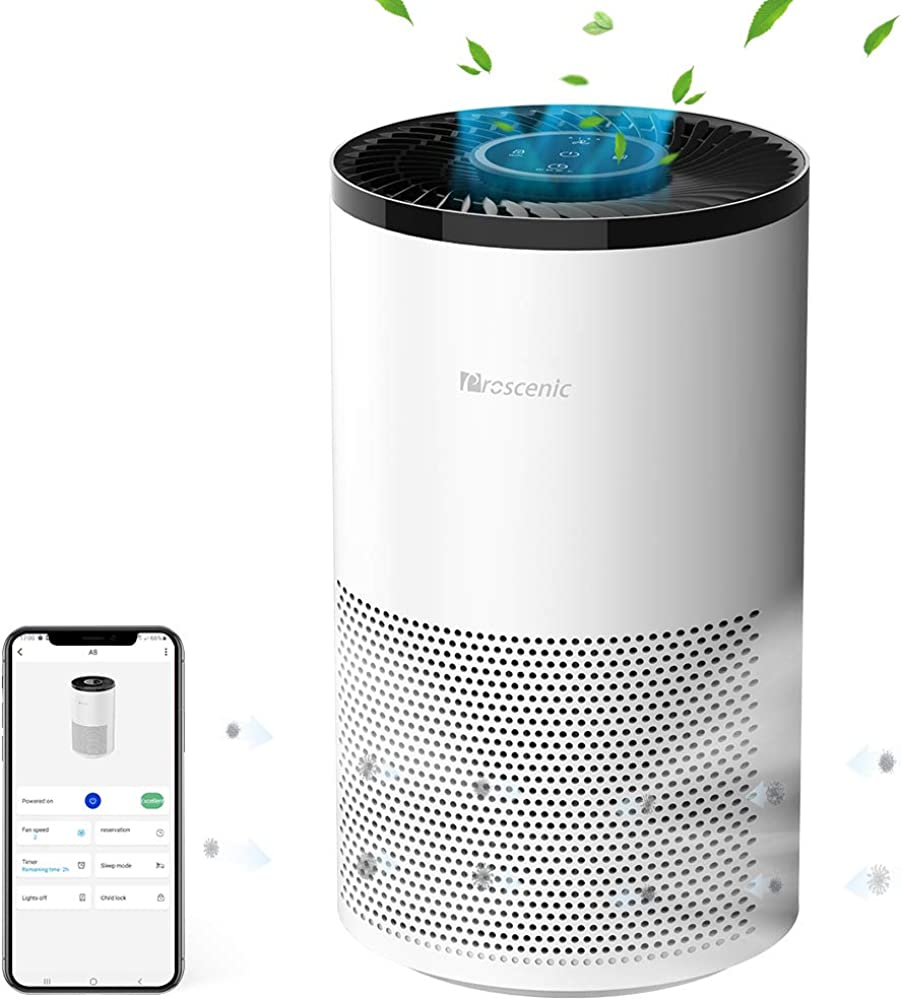 Proscenic a8 purificatore d`aria, depuratore air smart con app, filtro ioni d`argento antibatterico & antialle A8-EU