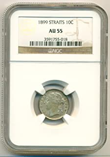 1899 MY Straits Settlements (Malaysia) - Victoria Silver 10 Cents AU55 NGC