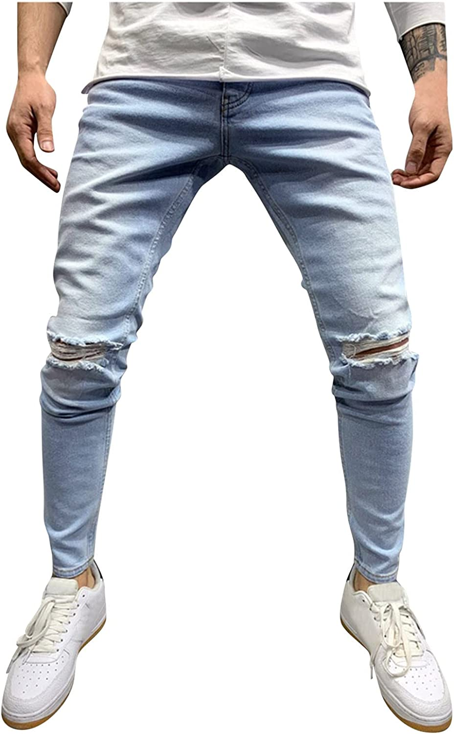 YUNDAN Mens Jeans Frayed Ripped Hole Skinny Stretch Comfy Fashion Denim Pants Slim-Fit Washed Stretch Summer Chino Trouser