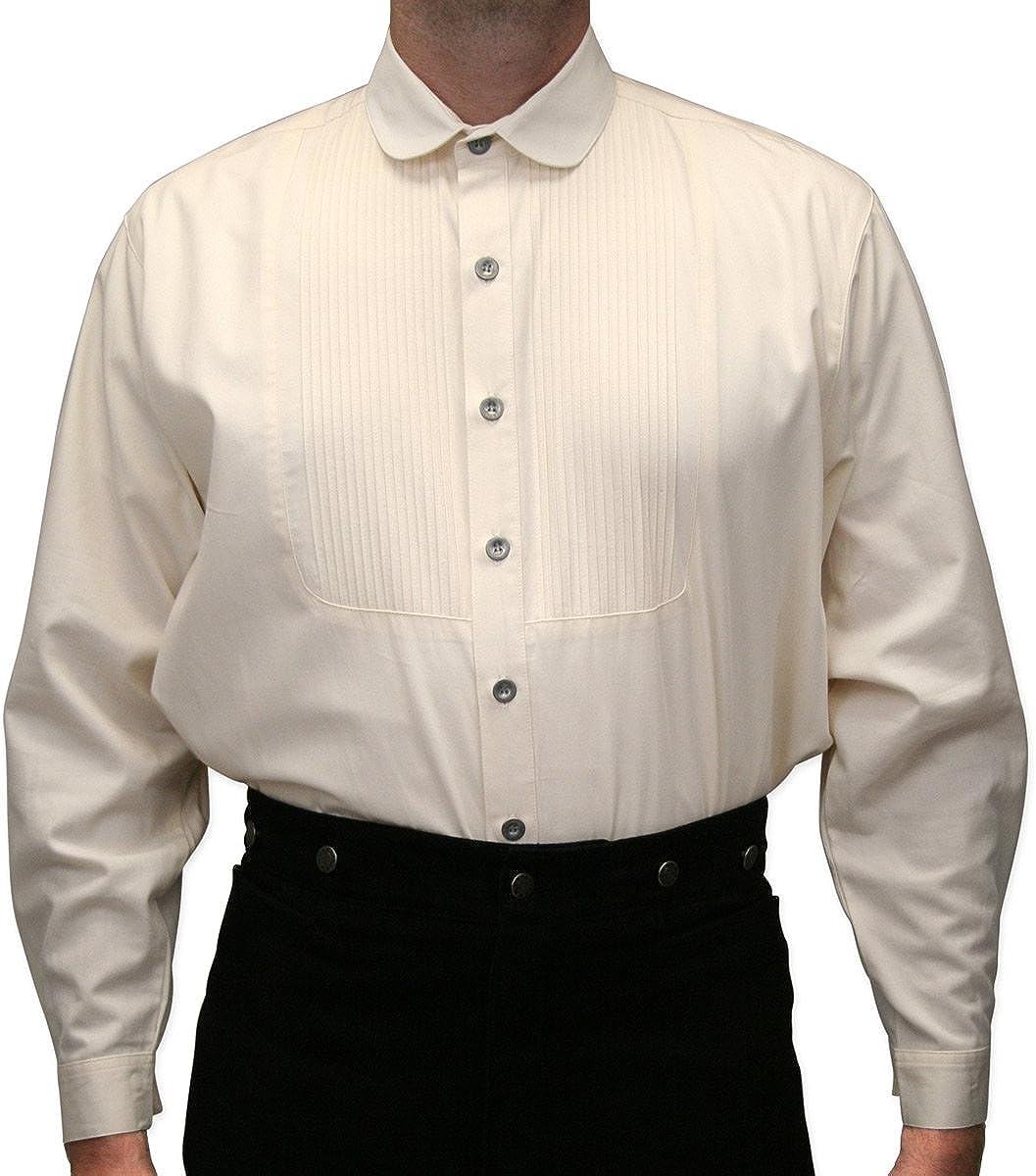 Historical Emporium Men's Pleated Edwardian Round Club Collar Dress Shirt
