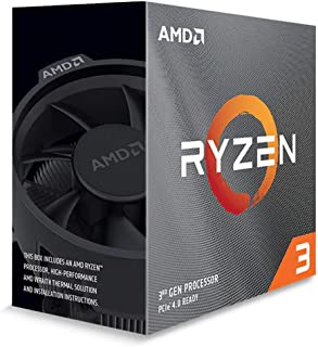 AMD Ryzen 3 3100, 4-Core/8 Threads Unlocked, Max Freq 3.9GHz, 18MB Cache Socket AM4 65W with Wraith Stealth Cooler, 100-10...