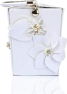 Clutch Handbag Pocket Woman Flower Wallet Dinner Shoulder Bags Bucket PU Crossbody Bag Woman Wedding Reception Cosmetic Bag Evening Dress Wrist Bag (12×13×16cm)