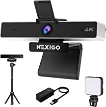 4K Zoomable Webcam Kits, NexiGo UHD 2160P Webcam with 8.5MP Sony Senor, 5X Digital Zoom, Extendable Tripod Stand, 4-Port U...