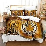 Ropa de Cama 3 Piezas 200x200cm Microfibra Transpirable Forest Animal Tiger Juego de Cama, Funda de edredón con Cremallera y 2 Fundas de Almohada de 50x75cm respetuosas con la Piel de Best Season