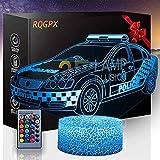 Niños luz de la noche del coche de la policía 3D lámpara de ilusión óptica de la lámpara de escritorio de iluminación con control remoto, regalos juguetes para niños