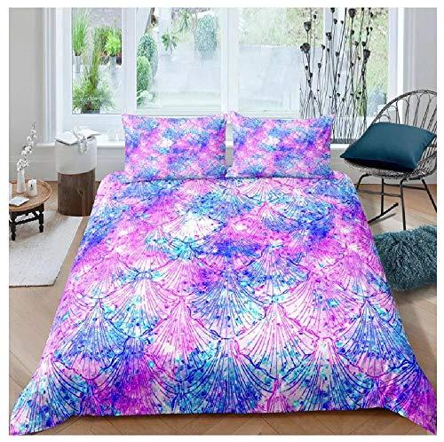 BAIYANG 3D Print Bedding Set Quilt Set Creativity Color Whirlpool Abstract Pattern Gradient Color Duvet Cover Pillowcases Multi Size 2/3Pcs Double(200x200cm)