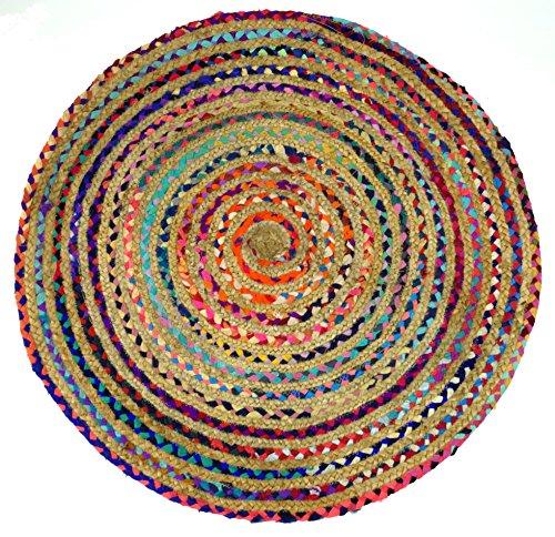 Guru-Shop Rond Upcyceling Patchwork Tapijt, Patchwork Tapijt, Katoen, 1x90x90 cm, Tapijten en Vloermatten