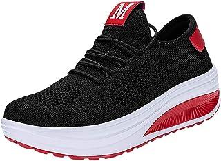 Fannyfuny Mujeres Zapatos para Correr Casuales Zapatillas de Deportivo de Plataforma Sneakers Jogging Low Top Calzado Knit...