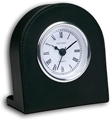 Dacasso Black Leather Clock w/Silver Insert