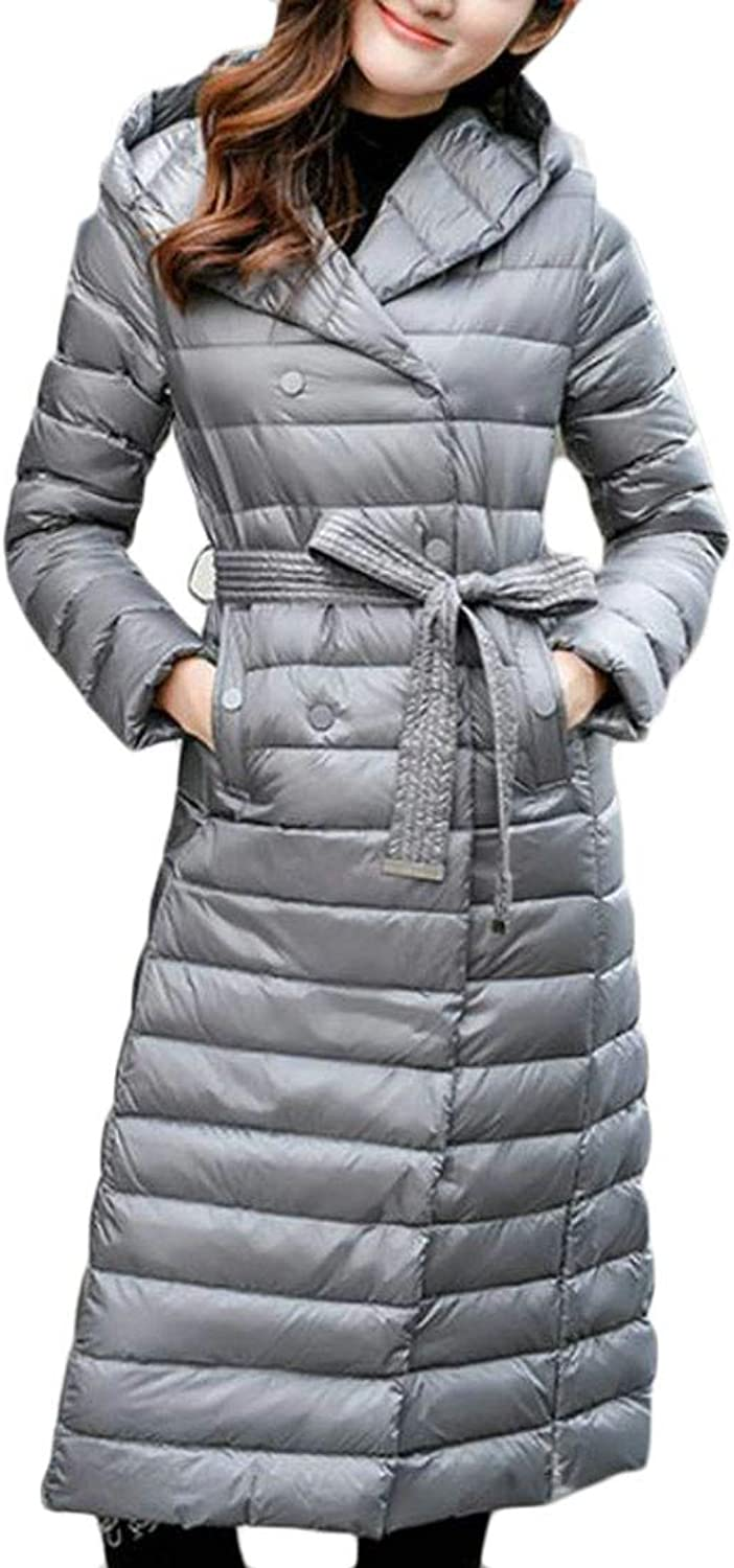 Big Tang Women Puffer Hooded Autumn Winter Packable Double Breasted Down Coat Jacket