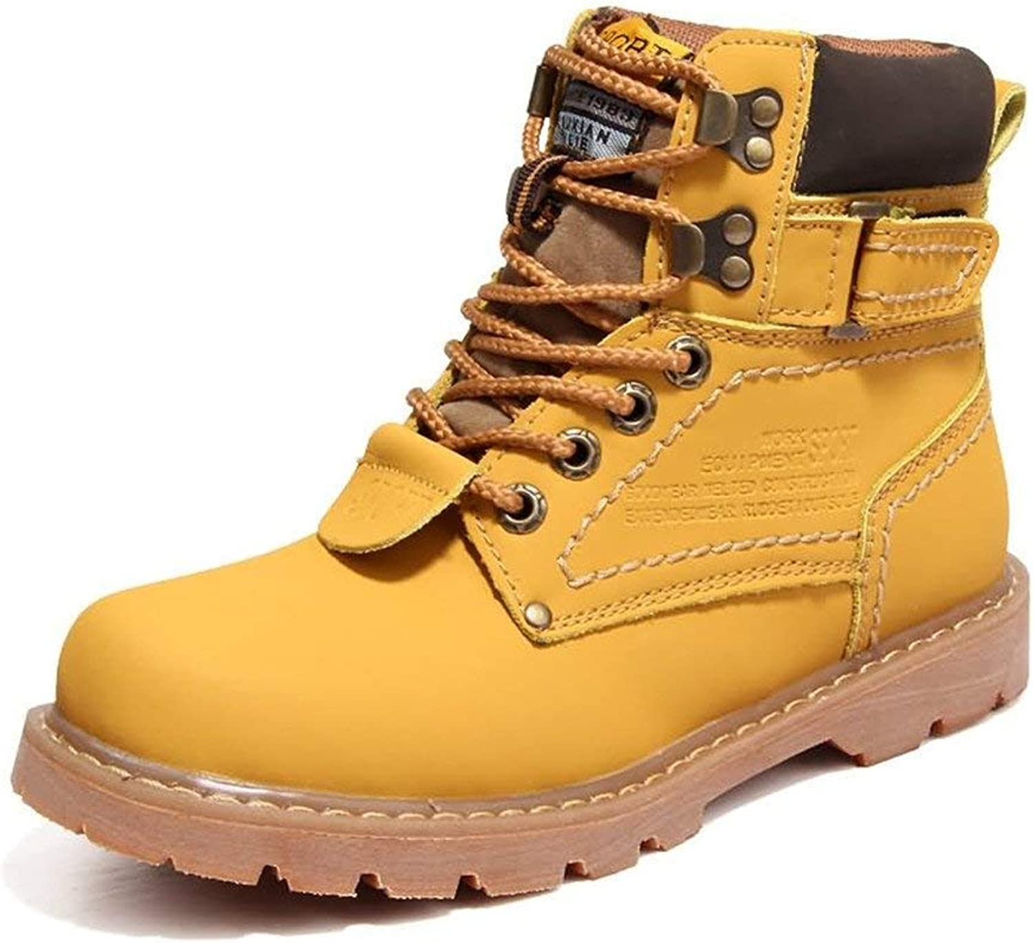 FuweiEncore Men's Martin Boots are Casual and British Style High Top Cotton Boots with Solid color (color  gold, Size  43 EU) (color   gold, Size   36 EU)