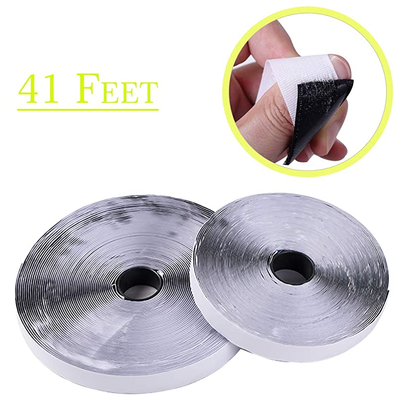 41 Feet Self Adhesive Hook and Loop Tape Roll Sticky Back Strip Adhesive Backed Fabric Fastener Mounting Tape-1inch Wide (Hook Loop Tape-Black)