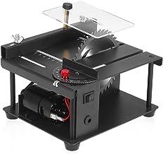 Sierra de mesa multifuncional de 110-240 V Mini cortadora de sierra de escritorio Máquina de corte eléctrica con hoja de sierra Ajuste de ángulo de velocidad ajustable Profundidad