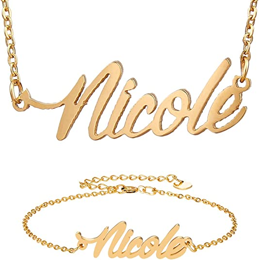 HUAN XUN Custom Name Necklace Personalized Initial Necklaces