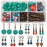 SUNNYCLUE 1 Box DIY 10 Pairs Earrings Making Starter Kit Jewerlry Making Charm Pendants with Electroplate Non-Magnetic Synthetic Hematite Bead Coral Bead Leverback Earring for Jewelry, Instruction