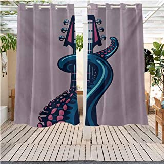 DONEECKL Octopus Outdoor Grommet Top Curtain Panel Sea Animal with Guitar Riff Musical Instrument Rock and Roll Modern Artwork Print Room Darkening Thermal W63 x L72 inch Lilac Blue