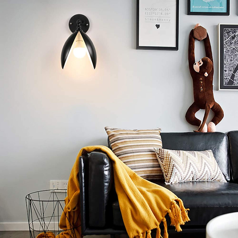 Einfache kreativeWandlampe Eisen Kunst Wandleuchte Nachttischlampe Korridor Innenbeleuchtung,E27,Ohne Lichtquelle(Farbe   Wei),schwarz