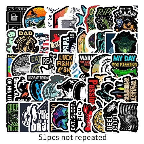 BLOUR 51PCS Funny Fisherman Go Angeln Aufkleber für Laptop Koffer Gefrierschrank Vinyl Auto-Styling DIY Dekoration Aufkleber Auto Aufkleber