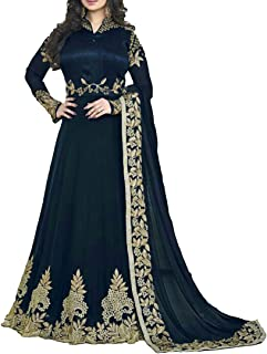 Ethnic Empire Women's Georgette Semi Stitched Anarkali Salwar Suits (DIV_FlexER10208_Blue_Free Size)