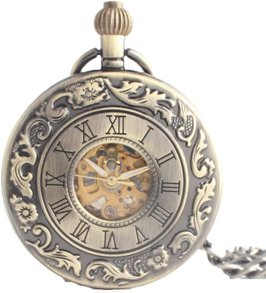 XJJZS Mechanical Pocket Watch for Engraved Women Men Arabic Large special price Case Sale