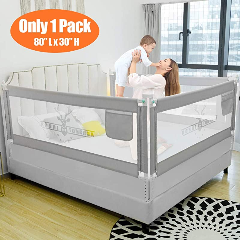 SURPCOS Bed Rails For Toddlers 60 70 80 Extra Long Baby Bed Rail Guard For Kids Twin Double Full Size Queen King Mattress Bucks 1Side 80 L 30 H