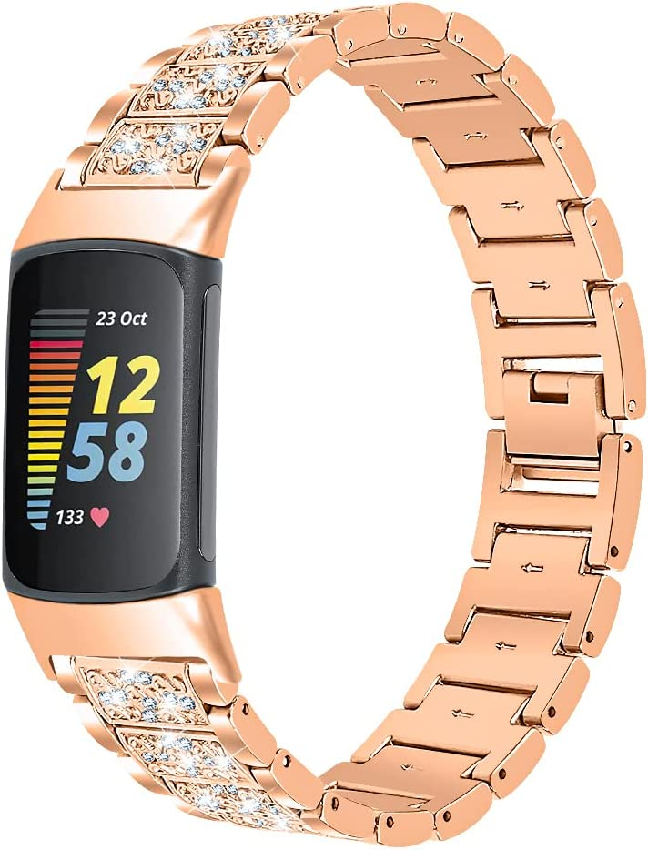 Chofit Armband compatibel met Fitbit Charge 5 bandjes, Bling Bling Strass Metaal Roestvrij Staal Solid Vervanging Band Polsband Armband voor Charge 5 Activity Tracker