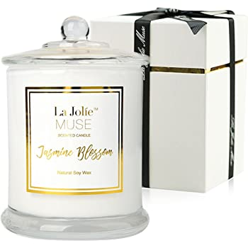 LA JOLIE MUSE Jasmine Scented Candle, Gift for Women, Natural Soy Wax, 65 Hours Burn Fine Home Fragrance, Glass Jar Candles
