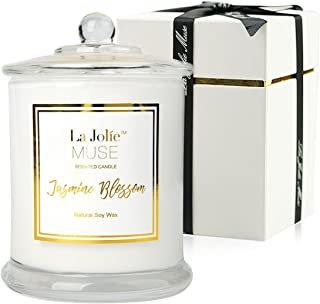 LA JOLIE MUSE Jasmine Scented Candle Gift Natural Soy Wax, 60 Hours Burn Fine Home..