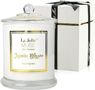 La Jolíe Muse Bougie Parfumées Jasmin Bougies Coffret Cadeau Maison Décor Bio en Cire Naturellle 50-65 Heures