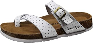 Women's Leather Sandals, Classic Flip-Flop & One Strap with Adjustable Buckle, Contoured Footbed Flats Sandals