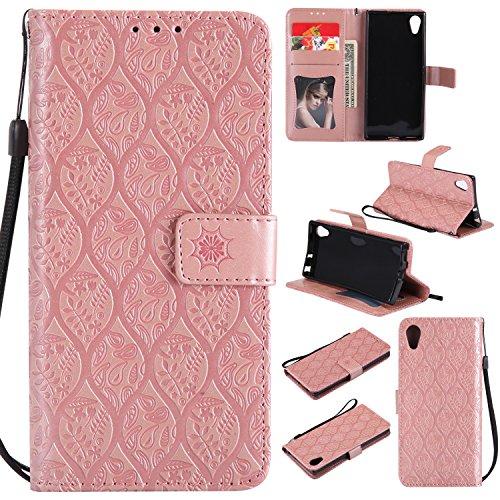 Lomogo Sony Xperia XA1 Hülle Leder, Schutzhülle Brieftasche mit Kartenfach Klappbar Magnetverschluss Stoßfest Kratzfest Handyhülle Case für Sony Xperia XA1 - LOYYO23504 Rosa Gold