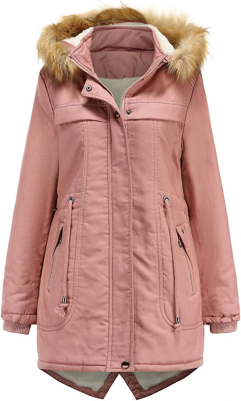 Basysin Oversized Winter Coat for Womens Ladies Mid-Length Fleece Detachable Hat Warm Fashion Outerwear Cotton Jackets