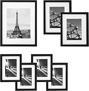 SONGMICS Picture Frames Set of 7 Pieces, One 11 x 14 Inches, Two 8 x 10 Inches, Four 6 x 8 Inches, with White Mat Real Glass, for Multiple Photos, Black Wood Grain URPF37BK
