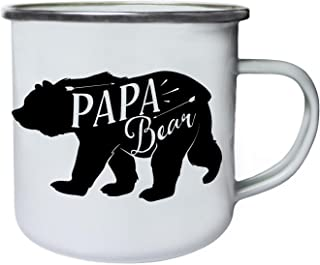 Papa Bear Retro,Tin, Enamel 10oz Mug j339e