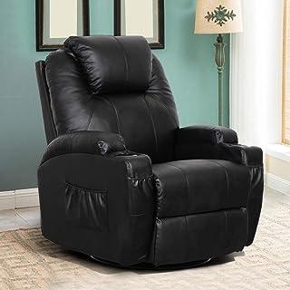 Esright Massage Recliner Chair Heated PU Leather Ergonomic Lounge 360 Degree Swivel (Black)