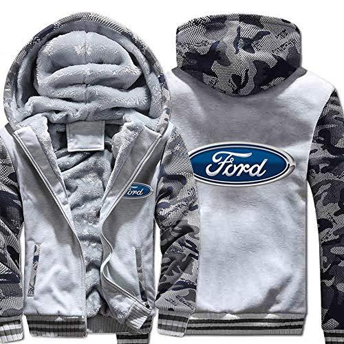 SYPT Uomo con Cappuccio Giacca- Ford Casual Invernale con Cappuccio Caldo con Zip A Maniche Lunghe Felpa 3-XXXL