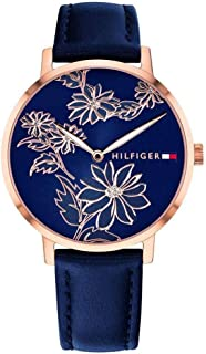Tommy Hilfiger Women's Gold Quartz Watch with Leather Calfskin Strap, Blue, 16 (Model: 1781918)