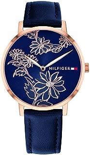 Women's Gold Quartz Watch with Leather Calfskin Strap, Blue, 16 (Model: 1781918)