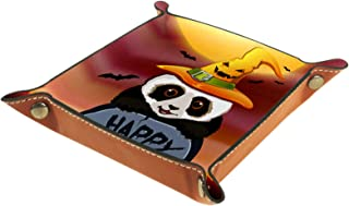 Plateau à bijoux Halloween Panda Plateau de rangement pour bijoux en cuir Petite boîte de rangement Organisateur de désord...