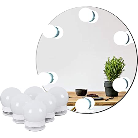 Amazon Com Waneway Hollywood Vanity Lights For Lighted Makeup Mirror Dressing Table Diy Led Lighting Strip Stick On Plug In With Dimmer And Power Supply 6 Light 9 Ft Mirror Not Included