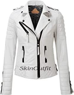 SKINOUTFIT Women's Leather Jackets Motorcycle Biker Genuine Lambskin White